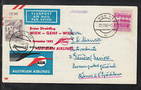 A-28) beautiful FFC First Flight 1962  AUSTRIAN AIRLINES -  VIENNA to GENEVA