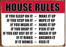House Rules funny metal sign 410mm x 320mm (fd)    REDUCED TO CLEAR