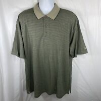 Reebok Golf Play Dry Mens Large Green Striped Golf Polo Shirt NWT