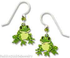 Frog Earrings - 925 Sterling Silver Ear Wires - Made in USA - Froggy Jewelry NEW
