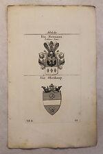 Gravure sur cuivre Armoiries Famille Chevalier de Wiebeking & Fer sauvage 1825