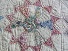 Vintage 1930's era Wagon Wheel Rising Sun hand quilted 75 x 98 inch quilt