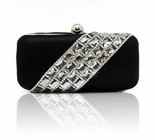 WOMENS DIAMANTE CRYSTAL RHINESTONE CLUTCH BAG WEDDING BLACK SILVER DIAGONAL