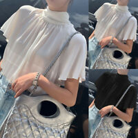 Women Short Sleeve Frill Blouse Chiffon Lolita Tie Bow Top Party Shirt Size 8-26