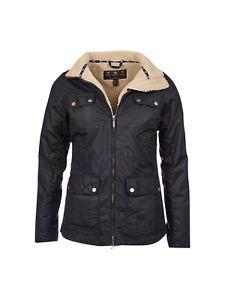 Barbour Howman Waxed Jacket Navy Coat (size 10) Ladies/Womens Wax