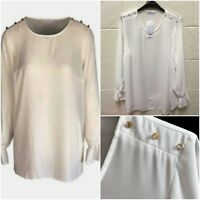 NEW Ex Evans Off White Cream Business Work Plus Size Shirt Blouse Top Size 16-28