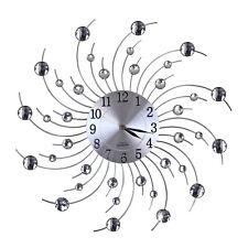LENTZ Designer Quartz Wanduhr Uhr Deko Diamant Kristall Stein Wirbel Weiß