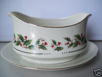 China HOLLY YULETIDE Gravy Boat  With Attached Under Plate Japan Mint Condition