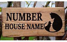 Cat house nom signe plaque plaque personnalisé en bois bois porche conservatoire