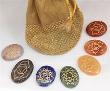 Chakra Set with Pouch Bag Oval Cabachon Flat Crystals Chakra Symbols