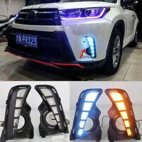 2x DRL Car LED Daytime Running Light W/ Turn Lamp For Toyota Highlander 18-19