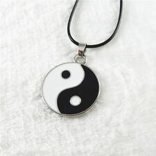 Enamel Zinc Alloy Tai Chi Pattern Black&White Color Round Pendant Necklace Gift