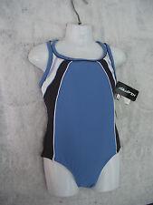 BNWT Girls Sz 7 JK Kids Aquafin Blue/Grey One Piece Swim Suit Bathers UPF 30