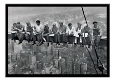 Lunch On A Skyscraper Poster Men On Girder New York Black Framed Ready To Hang
