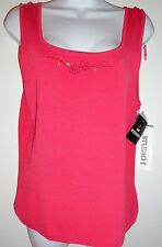 NEW STUDIO 1 BEAUTIFUL CORAL TANK TOP SHIRT WOMENS SIZE 12 PINK NATION CAMI*