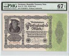 Germany, Reichsbanknote 1922 P-79 PMG Superb Gem UNC 67 EPQ 50,000 Mark