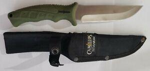 Camillus Titanium Camp Knife Fixed Blade with Camillus Sheath Lightly Used