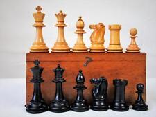 Antique English Chess Set non Jaques pondérée Staunton Motif K 86 mm + BOX