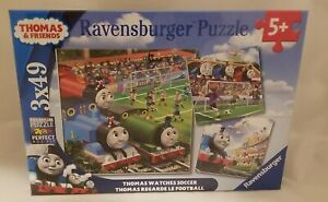 NEW Ravensburger Thomas Watches Soccer Puzzle Set (3 x 49 Piece) Ages 5+