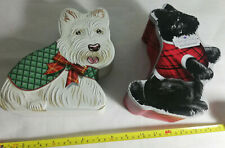 2 x  DOG SHAPED BISCUIT COOKIE CAKE EMBOSSED TINS (EMPTY)