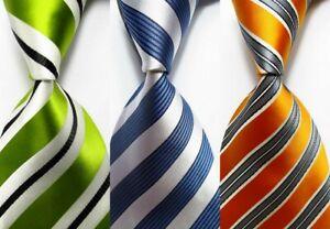 3 pcs New Classic Striped JACQUARD WOVEN 100% Silk Men's Tie Necktie