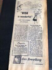 M3-3 Ephemera 1949 Advert Wisk Washing Powder Is Wonderful