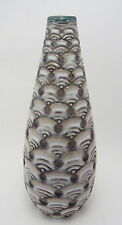 Meiji Japanese Awaji Pottery Vase Incised Wave Pattern
