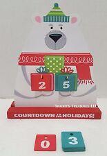 Polar Bear Countdown to Christmas Calendar Wooden Desk Tabletop Holiday Decor