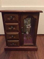 Vintage Etched Glass Armoire Jewelry Box Storage Necklace Organizer Musical Box