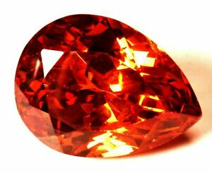 90.70 Cts. Natural Cubic Zircon Orange Color Pear Shape Certified Loose Gemstone