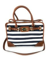 Michael Kors Large Hamilton Stripe Canvas Navy White Tote Satchel Shoulder Bag