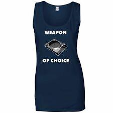 Novelty Music Ladies Vest Weapon of Choice Vinyl Deck Musicians Go To Tool DJ