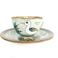 Ken Edwards Mexican Pottery Coffee Mug Cup Saucer Bird Signed KE Mexico