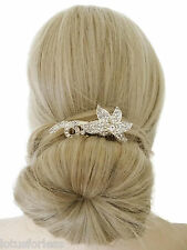 Pretty Flower Crystal Silver Wire Hair Comb Slide Bridal Prom Races 7.5 CMS