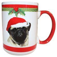Pug Christmas Coffee Mug 15 oz E&S Pets Dog Puppy Tea Cup Holiday Gift Stocking