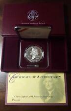 1993 Thomas Jefferson Proof Silver Dollar Commemorative Set