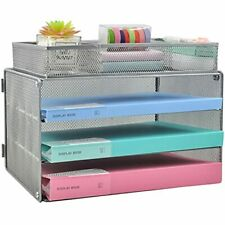 Cosyawn Paper Letter Tray Organizer 3 Tier Mesh File Tray Desktop Paper Sorte