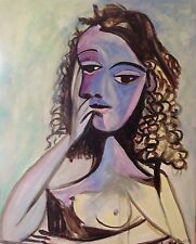 "Nuevo David Aldus Original ""nusch Éluard"" 1938 después Picasso Arte Deco Pintura"
