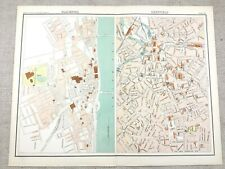 1890 Antique Map of Blackpool & Sheffield Town Plan 19th Century Original