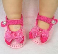 Newborn Infant Girls Crochet Knit Sock Crib Shoes for 0-12 Month Baby 0T