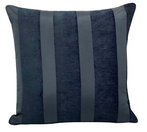 """X Thick Industrial Black / Charcoal Grey Stripe Chenille Cushion Covers 18X18"""""""