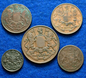 LANZ EAST INDIA COMPANY GREAT BRITAIN LOT 5 DIFFERENT COINS ^HL378