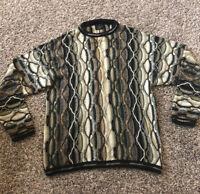 Bergati Men's Biggie Coogie Like 90s Textured 3D Vintage Brown Sweater XL