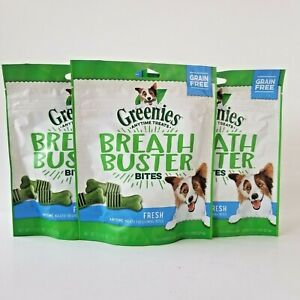 3 Greenies Breath Buster Bites Fresh Dental Treats Grain Free Exp 3/2021