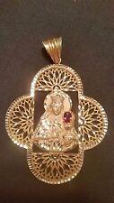 Saint Barbara 14k Gold Pendant Cross w/ Chatham Ruby [New]
