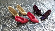 TINY! Lot of 3 PAIRS of vintage HIGH HEELED DOLL SHOES   Red  Gold & MAROON