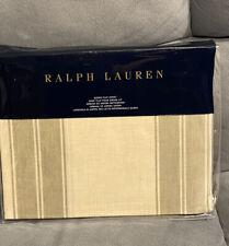 Ralph Lauren QUEEN FLAT SHEET Amagansett Sage Green Tan Stripe Cotton Ret