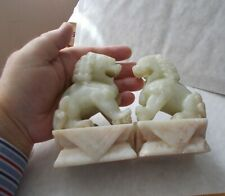 PAIR OF VINTAGE CHINESE WELL CARVED SOAPSTONE DRAGON DOG ORNAMENTS / BOOKENDS