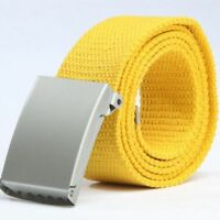 Military Style Webbing Men Women Fashion Tan Waist Belt Metal Canvas Buckle