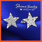 18K WHITE GOLD GF DIAMOND SILVER STAR PENTAGRAM STAR MENS WOMEN GIRLS EARRINGS